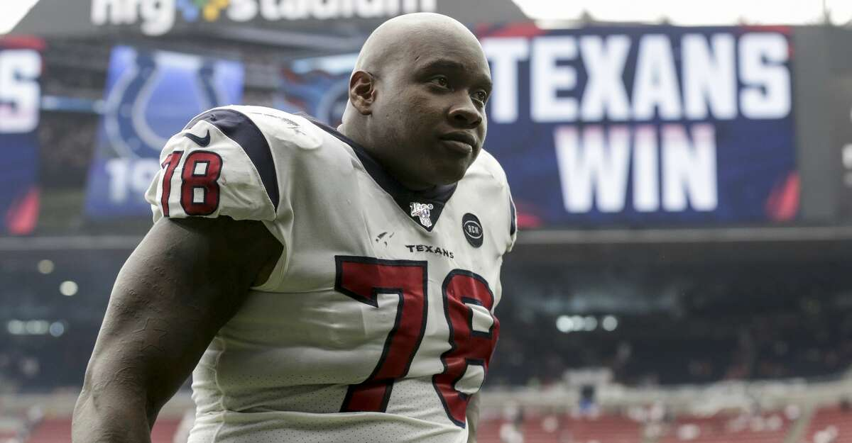 HOUSTON, TX - SEPTEMBER 15: Laremy Tunsil #78 of the Houston Texans walks off the field after the game against the Jacksonville Jaguars at NRG Stadium on September 15, 2019 in Houston, Texas. (Photo by Tim Warner/Getty Images)