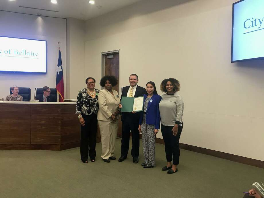 Mayor Andrew Friedberg recognizes Nov. 10-16 as Perioperative Nurse Week in Bellaire at the City Council meeting on Monday, Nov. 4, at City Hall for the work the nurses do to save lives every day. Photo: Courtesy By City Of Bellaire