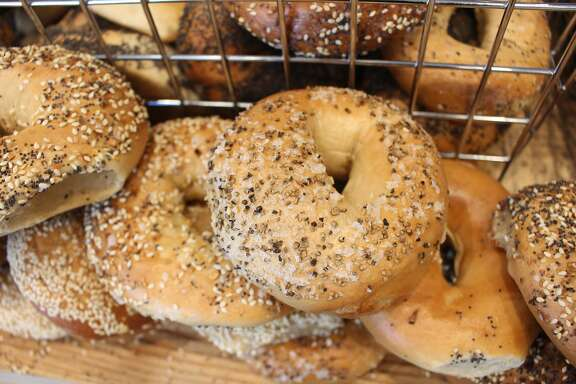 A test batch of bagels is seen at Boichik Bagels,�3170 College Ave., Berkeley.