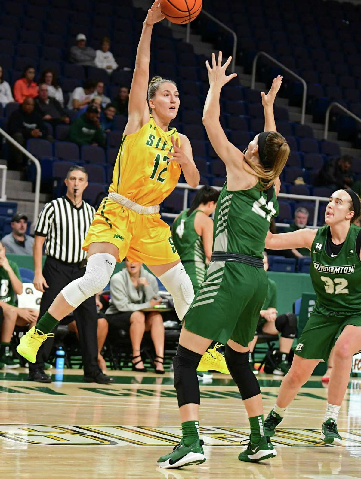 Siena's Marilena Gerostergiou passes the ball during a basketball game against Binghamton at the Times Union Center on Tuesday, Nov. 5, 2019 in Albany, N.Y. (Lori Van Buren/Times Union)