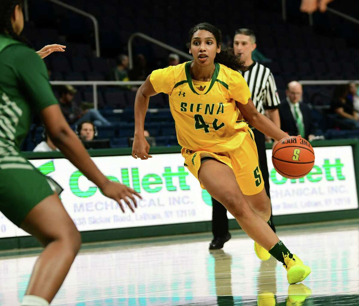 Siena's Sabrina Piper dribbles the ball during a basketball game against Binghamton at the Times Union Center on Tuesday, Nov. 5, 2019 in Albany, N.Y. (Lori Van Buren/Times Union)
