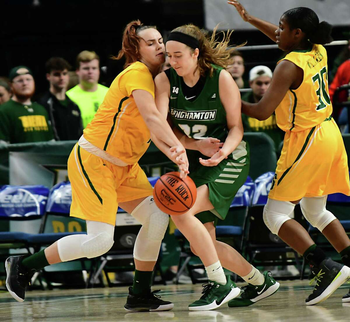 Siena's Julia Hauer, left, tries to steal the ball from Binghamton's Carly Boland during a basketball game at the Times Union Center on Tuesday, Nov. 5, 2019 in Albany, N.Y. Boland is from Clifton Park and is a Shenendehowa graduate. (Lori Van Buren/Times Union)