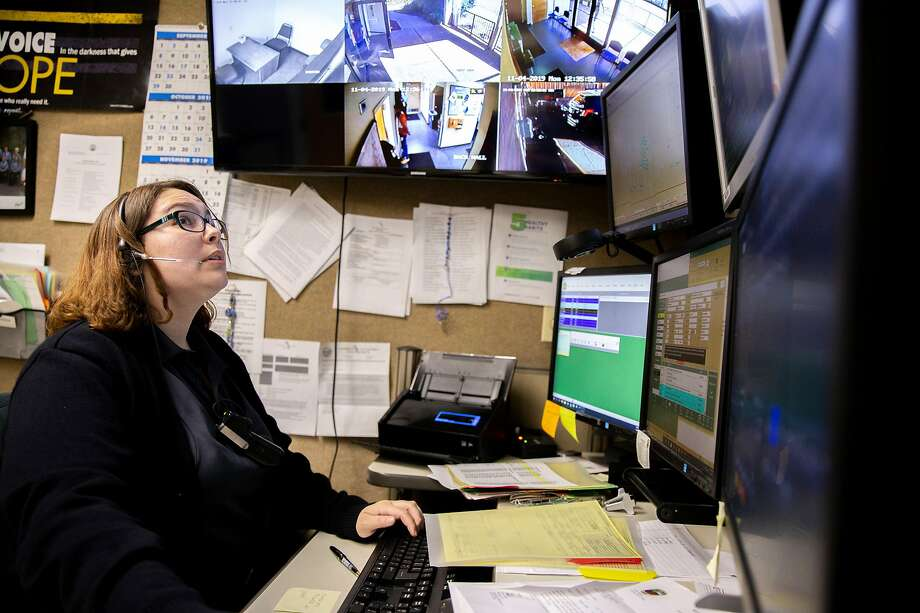 Amannda Oakley at the Paradise police dispatch center where she is the only dispatcher. Photo: Santiago Mejia / The Chronicle