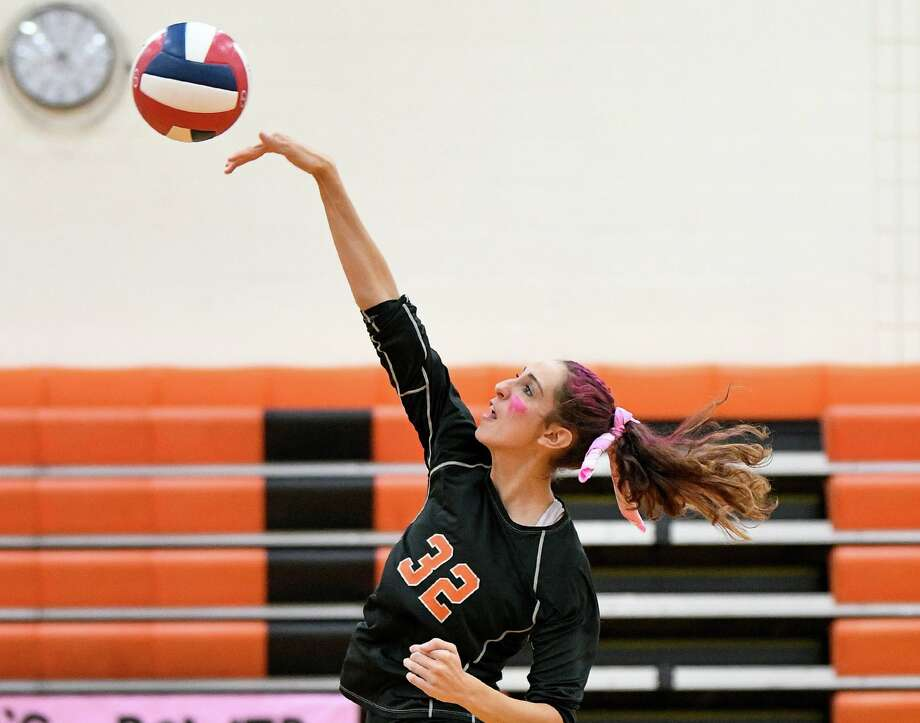 Reem Abdel-Hack was one of the top hitters for Shelton in the match with SHA. Shelton High's Reem Abdel-Hack against cheshire High school at Shelton High school, Thursday, Oct. 10, 2019 Photo: David G Whitham / For Hearst Connecticut Media / DGWPhotography