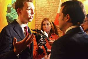Mayor elect Ben Florsheim speaks to a TV reporter at La Boca restaurant in Middletown following the news that he had beat Common Council Minority Leader Sebastian N. Giuliano Tuesday night.