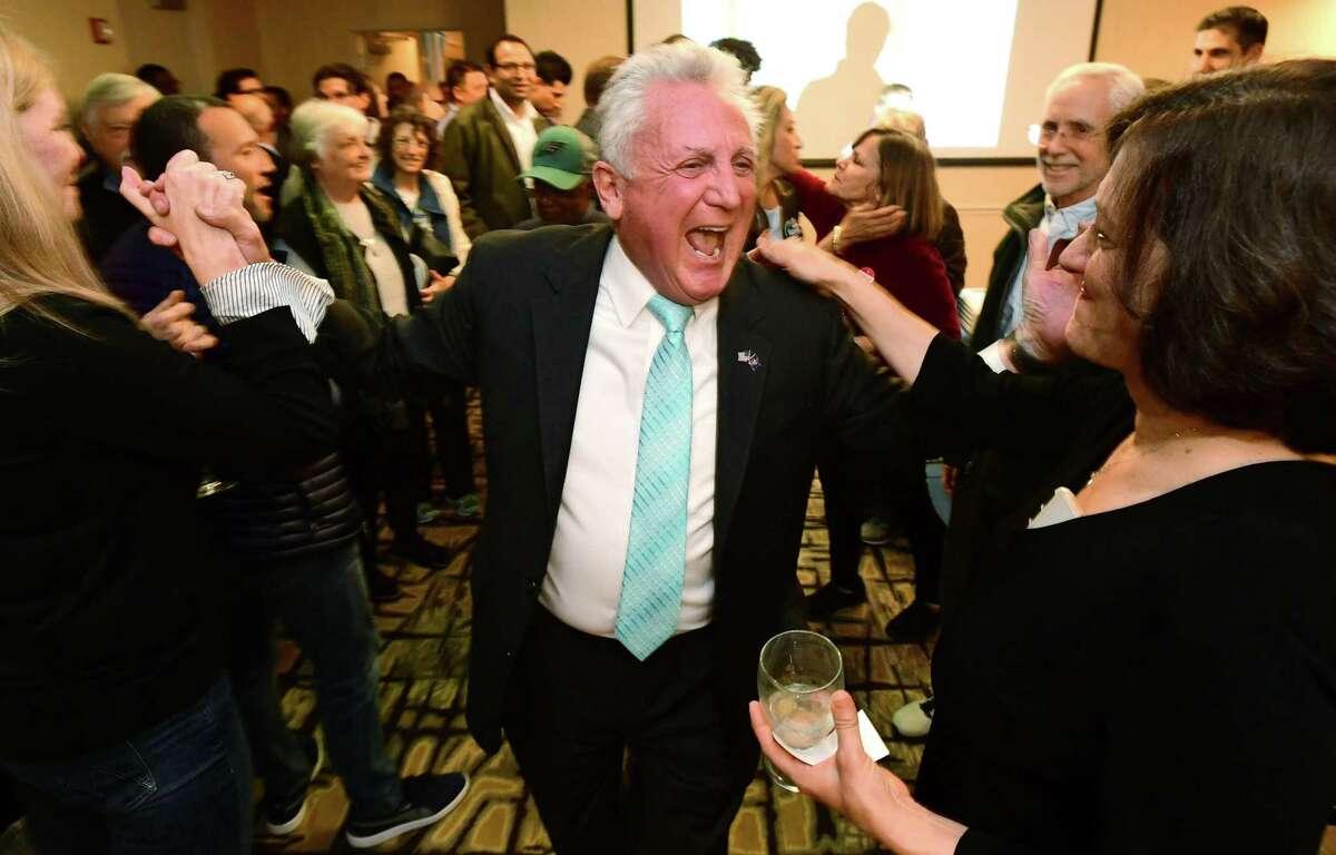 Mayor Harry Rilling celebrates his win on election night Tuesday, November 5, 2019, at the Hilton Inn in Norwalk, Conn.