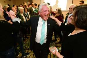 Mayor Harry Rilling celebrates his win on election night Tuesday, November 5, 2019, at the Hilton Inn in Norwalk, Conn.