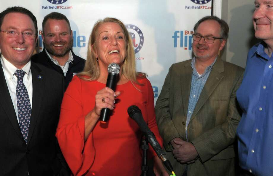 Brenda Kupchick speaks to supporters at her victory party at Flipside Burgers, in Fairfield, Conn. Nov. 5, 2019. Kupchick defeated incumbent Mike Tetreau for the First Selectman's seat in Tuesday's election. Photo: Ned Gerard / Hearst Connecticut Media / Connecticut Post