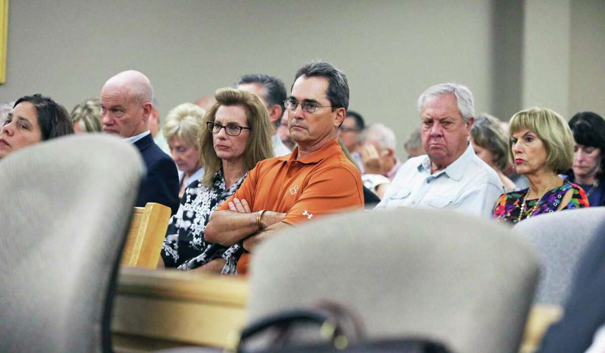 Property owners listen as testimony began Nov. 5, 2019, in the lawsuit some have filed against the Guadalupe-Blanco River Authority over its management and spending practices. The case is being heard by Visiting Judge Stephen Ables in the Guadalupe County Justice Center.