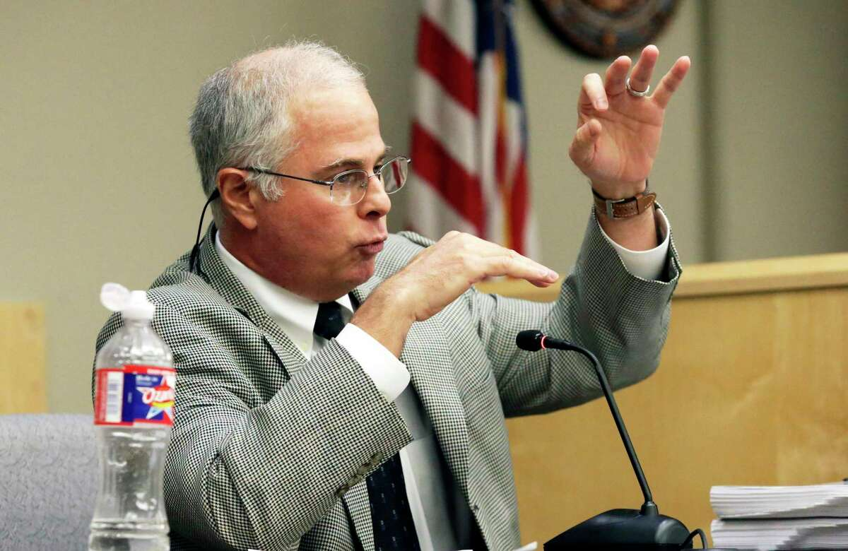 Former Guadalupe-Blanco River Authority official Todd Votteler gestures during questioning Nov. 5, 2019, by attorney Doug Sutter in a lawsuit filed against the GBRA.