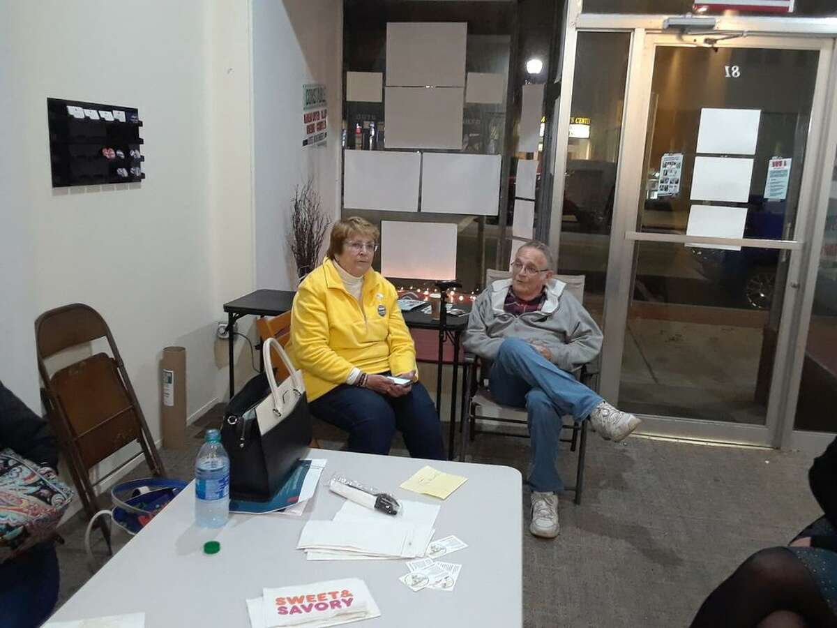 Democrat Sharon Waagner sits with her husband Lou, waiting for voter returns.