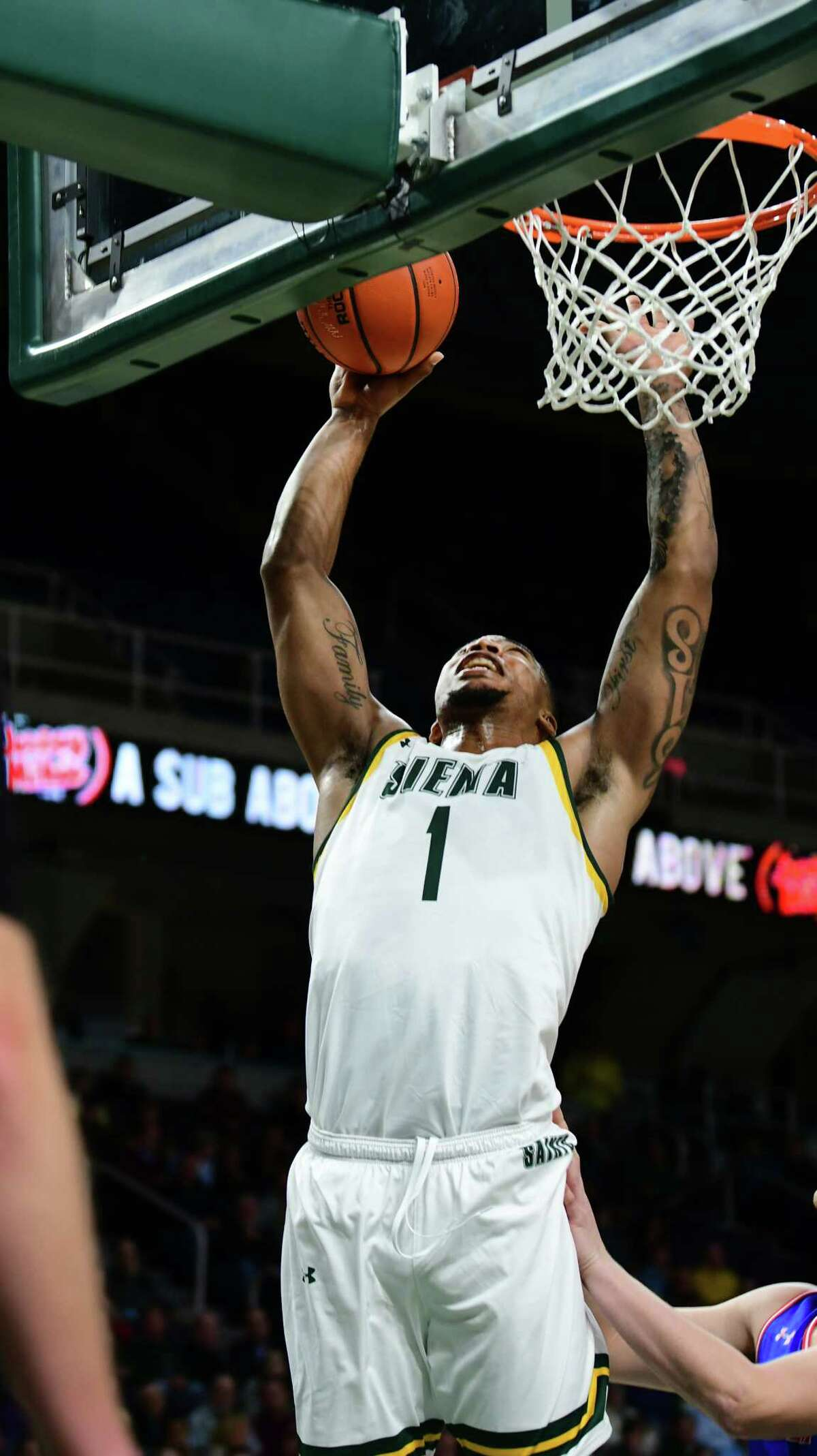 Siena's Elijah Burns takes a shot during a basketball game against American University at the Times Union Center on Tuesday, Nov. 5, 2019 in Albany, N.Y. (Lori Van Buren/Times Union)