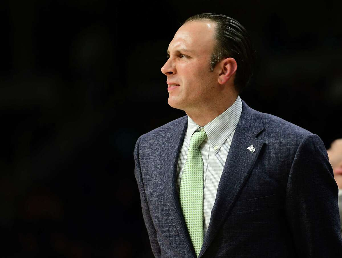 Siena head coach Carmen Maciariello is seen during a basketball game against American University at the Times Union Center on Tuesday, Nov. 5, 2019 in Albany, N.Y. (Lori Van Buren/Times Union)
