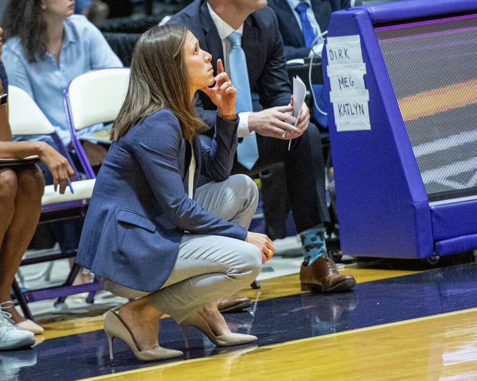 Columbia womens basketball head coach Megan Griffith during the UAlbany season opener at the SEFCU Arena on Tuesday, Nov. 5, 2019 (Jim Franco/Special to the Times Union.)