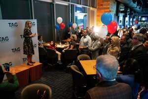 Carrin Patman, chairwoman of the Metropolitan Transit Authority board, addresses supporters of this election's Metro bond measure during a party at Biggio's in downtown Houston, Tuesday, Nov. 5, 2019. The Metro bond measure was showing a strong likelihood of passing after initial early voting results were released early Tuesday evening.