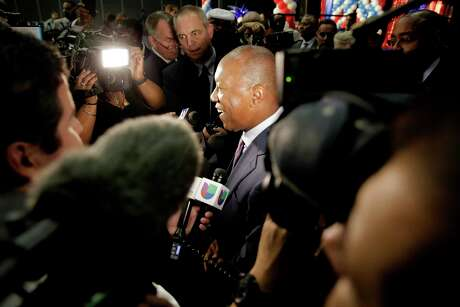 Houston Mayor Sylvester Turner talks to the media at his election-night party at the George R. Brown Convention Center on Tuesday, Nov. 5, 2019 in Houston.