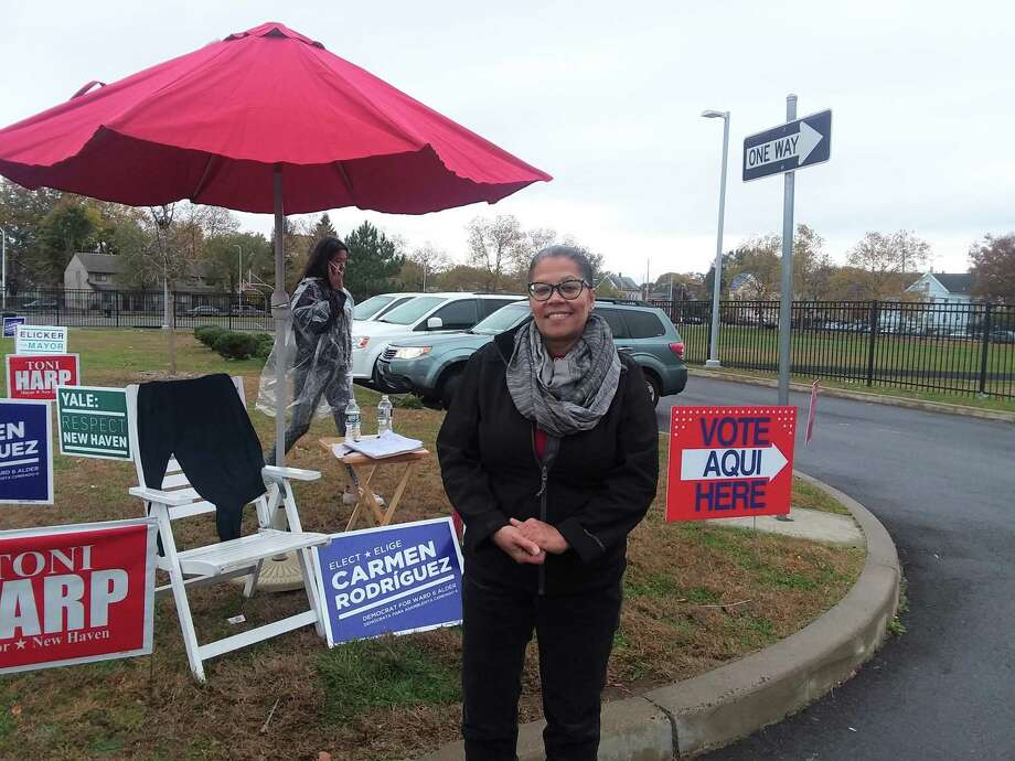 New Haven Board of Alders Ward 6 candidate Democrat Carmen Rodriguez at the polls Nov. 5, 2019. Photo: Helen Bennett / Hearst Connecticut Media