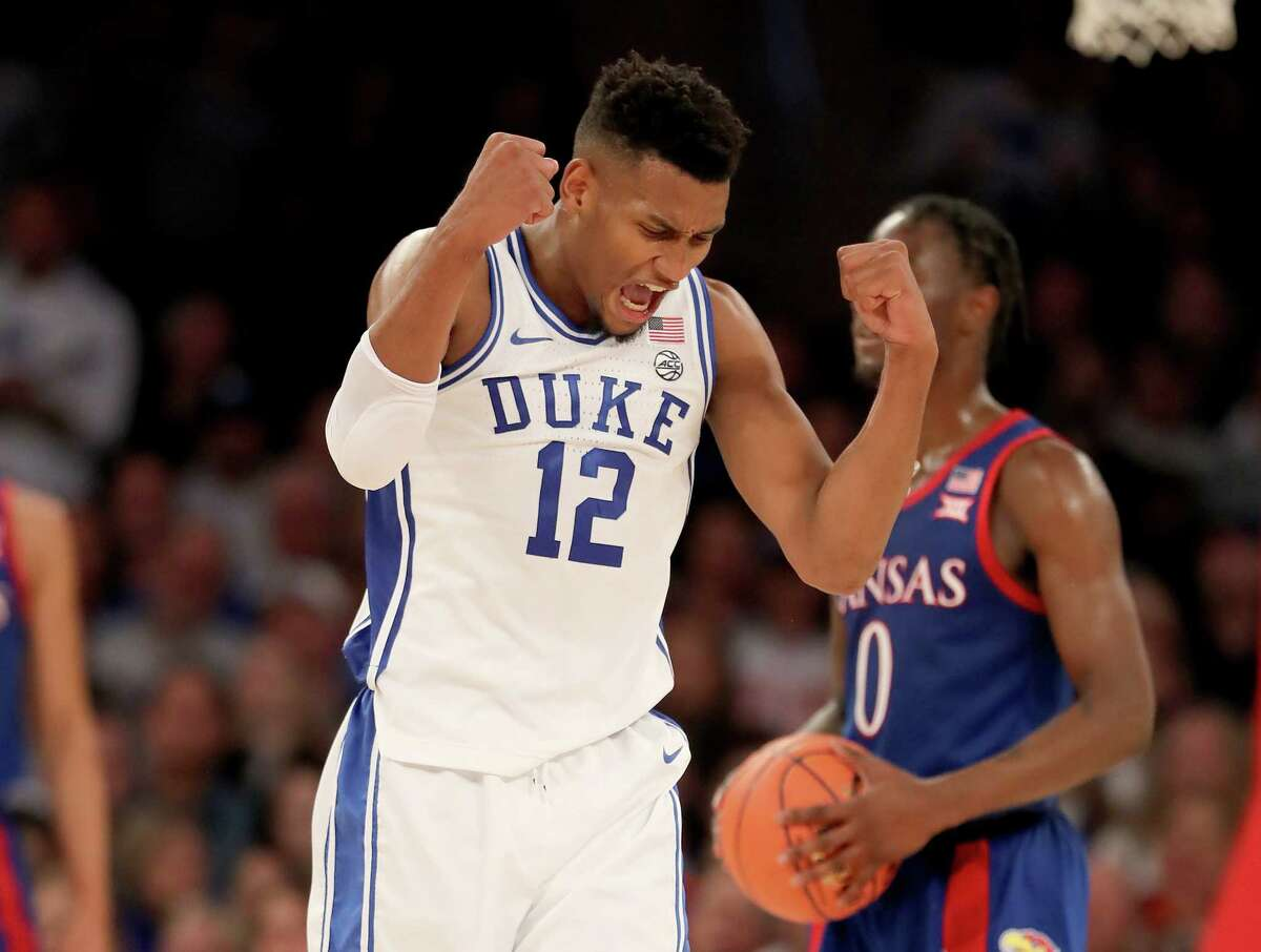 NEW YORK, NEW YORK - NOVEMBER 05: Javin DeLaurier #12 of the Duke Blue Devils reacts after he drew the foul on Marcus Garrett #0 of the Kansas Jayhawks in the first half during the State Farm Champions Classic at Madison Square Garden on November 05, 2019 in New York City. (Photo by Elsa/Getty Images)
