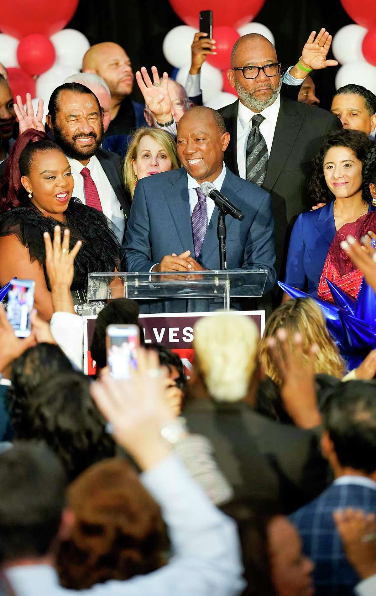 Houston Mayor Sylvester Turner addresses his supporters supporters at his election-night party at the George R. Brown Convention Center on Tuesday, Nov. 5, 2019 in Houston.
