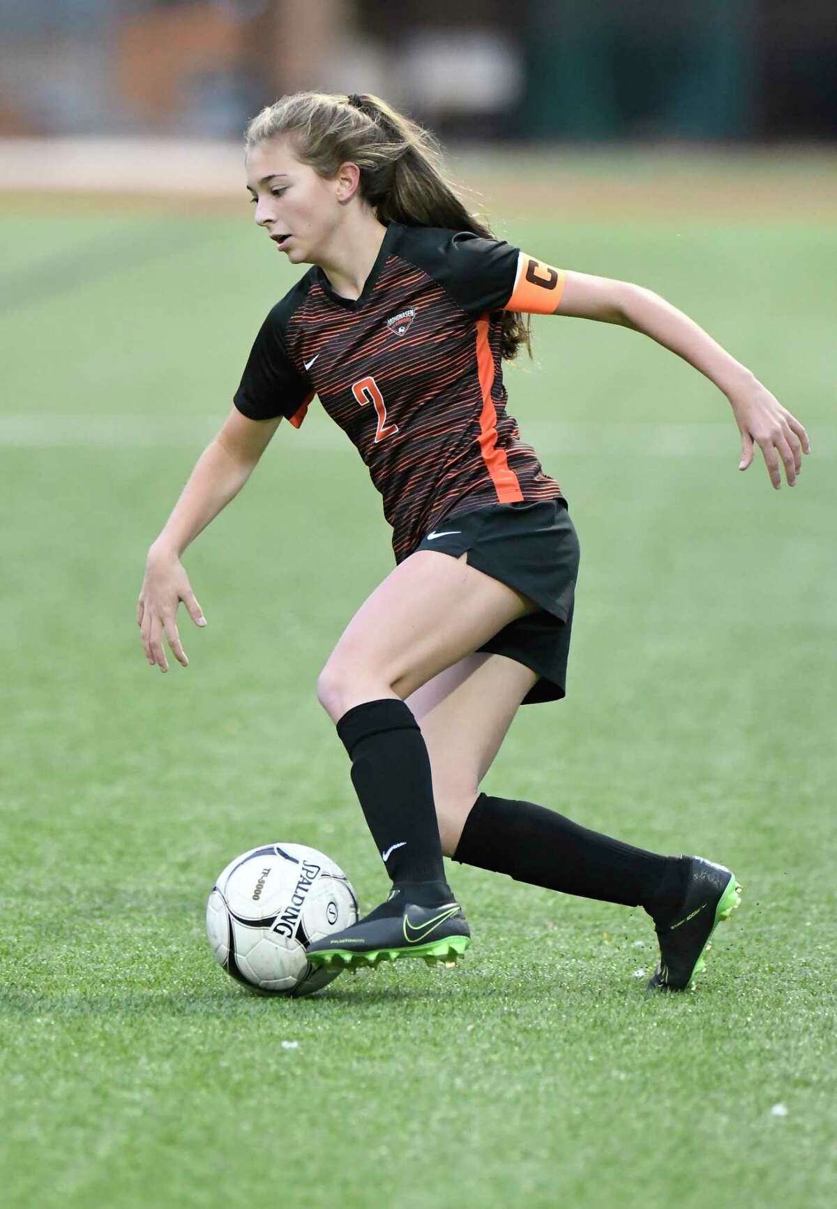 Mohonasen's Liv Raucci (2) moves the ball against Franklin Academy's during the first half of a girlsA?• Class A State sub regional high school soccer game Tuesday, November 5, 2019, in Troy, N.Y. (Hans Pennink / Special to the Times Union) ORG XMIT: 110619_gsoccer1_HP101