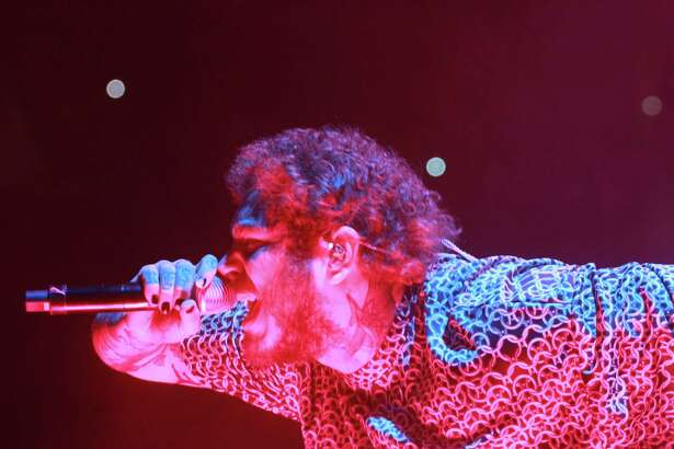 Post Malone in concert at Toyota Center on November 5, 2019.