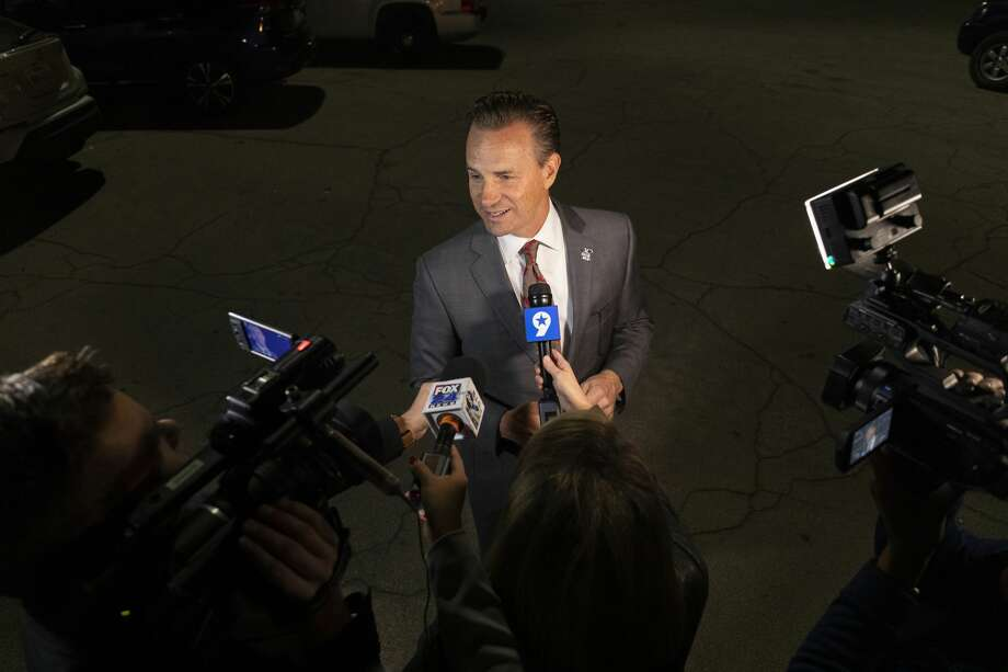 Patrick Payton speaks to the media about early election numbers Tuesday, Nov. 5, 2019 outside the Midland County Annex. Photo: Jacy Lewis/Reporter-Telegram
