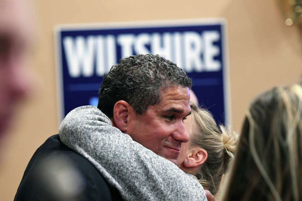 Troy mayoral candidate Rodney Wiltshire is embraced by a supporter after losing to incumbent mayor Patrick Madden on Tuesday, Nov. 5, 2019, at the Troy Firefighters Union Hall in Troy, N.Y. (Will Waldron/Times Union)
