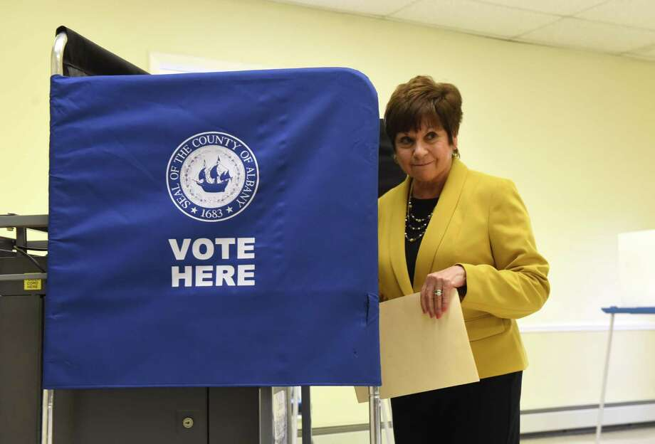 Colonie Town Supervisor Paula Mahan casts her vote in the General Election on Tuesday, Nov. 5, 2019, at the Latham Community Baptist Church polling station in Colonie, N.Y. The six-term incumbent Democrat faces Republican challenger George Scaringe in the race for Colonie Town Supervisor. (Will Waldron/Times Union) Photo: Will Waldron / 40048193A
