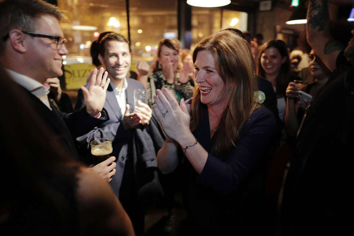 Suzy Loftus, candidate for San Francisco district attorney, meets with supporters at Churchill to await results on election night in San Francisco, Calif., on Tuesday, November 05, 2019.