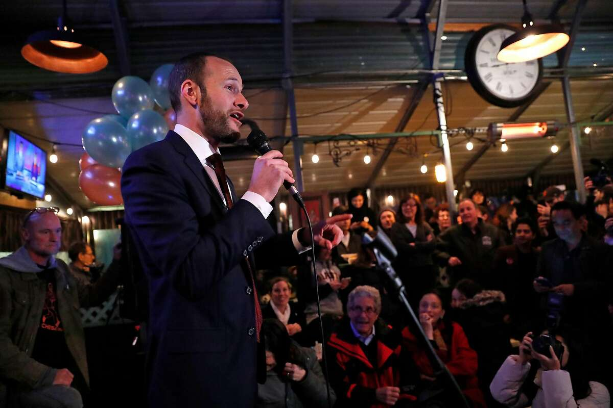 SF District Attorney candidate Chesa Boudin speaks during election night party at SOMA StrEat Food Park in San Francisco, Calif., on Tuesday, November 5, 2019.