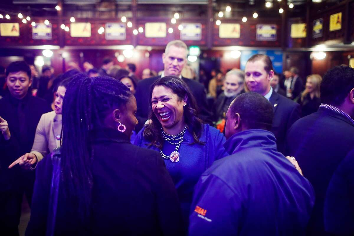 Mayor London Breed embraces her supporters at her election party at the Swedish American Hall in San Francisco, California, on Tuesday, Nov. 5, 2019.