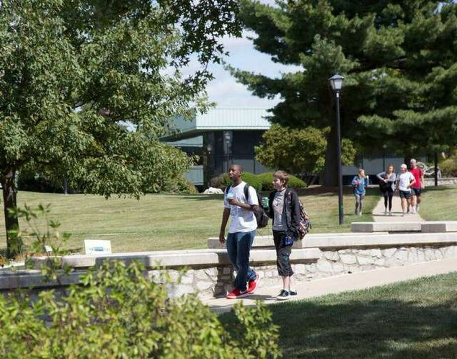 Photo By Laura Inlow, L&C Media Services Students cross Lewis and Clark Community College's Godfrey Campus between classes in this Fall 2017 file photo.