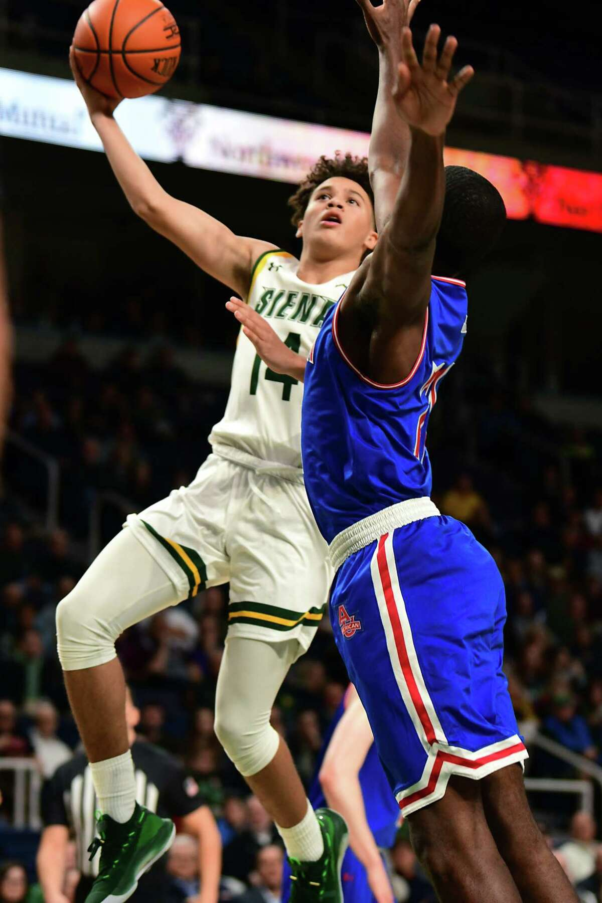 Siena's Jordan King takes a shot during a basketball game against American University at the Times Union Center on Tuesday, Nov. 5, 2019 in Albany, N.Y. (Lori Van Buren/Times Union)