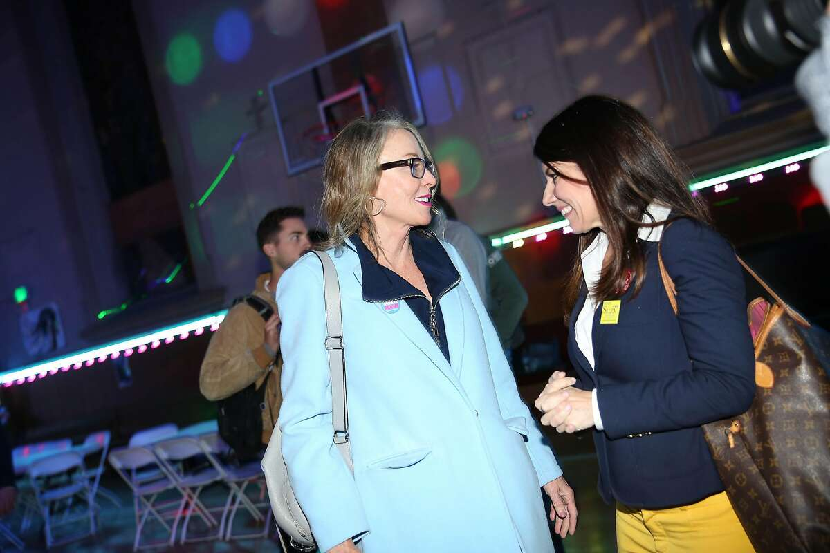 District 5 Supervisor Vallie Brown (left) District 2 Supervisor Catherine Stefani (right) at Brown's campaign watch party at Church of Eight Wheels on Tuesday, November 5, 2019 in San Francisco, Calif.