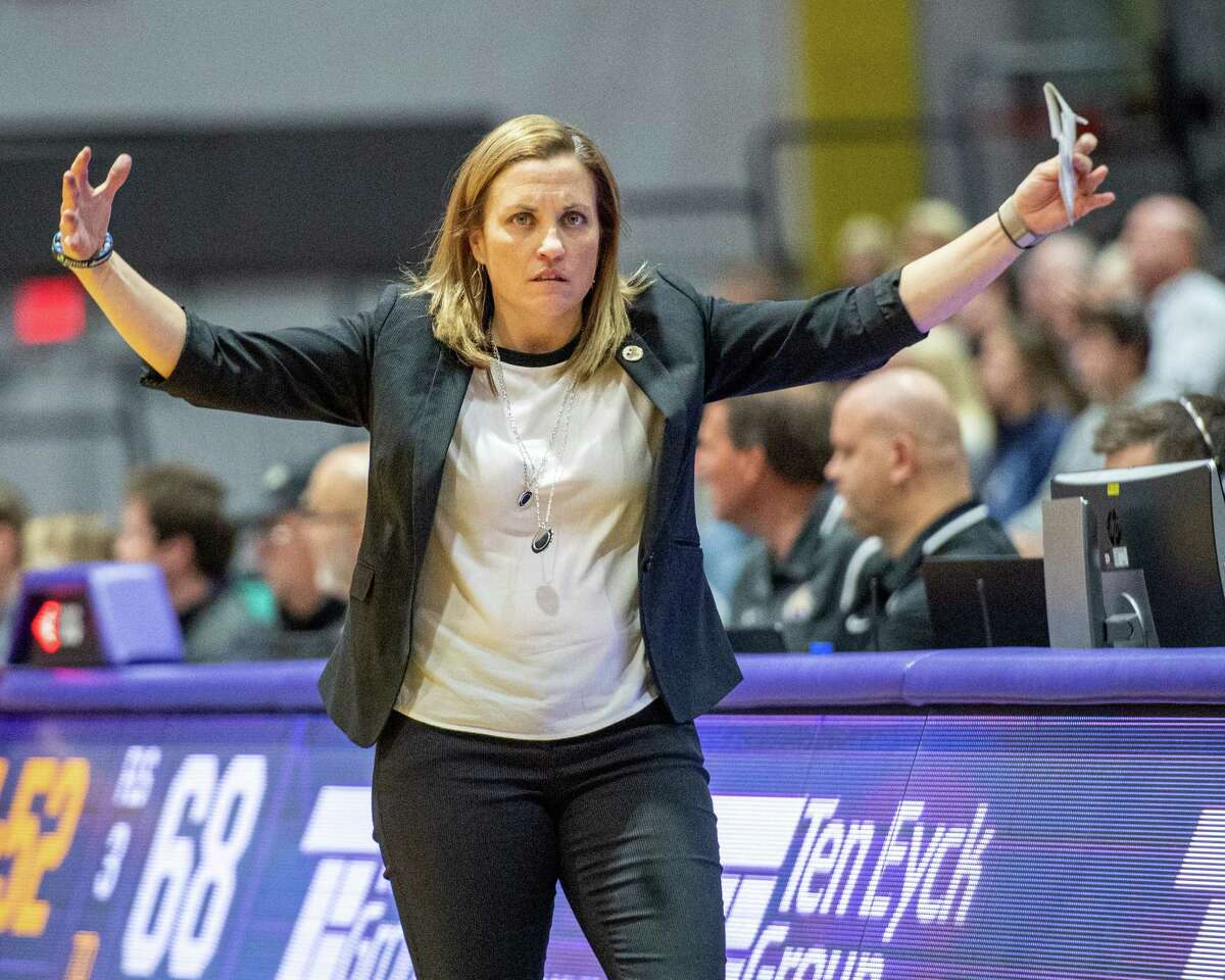 UAlbany women's basketball coach Colleen Mullen in a 2019 game at SEFCU Arena. The Great Danes women's program has been put on pause for the fourth time this season. (Jim Franco/Special to the Times Union.)