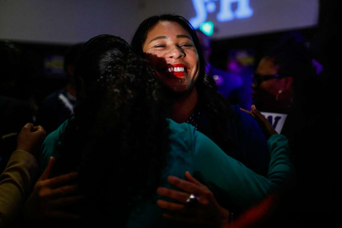 Mayor London Breed embraces a supporter at her election party at the Swedish American Hall in San Francisco, California, on Tuesday, Nov. 5, 2019.