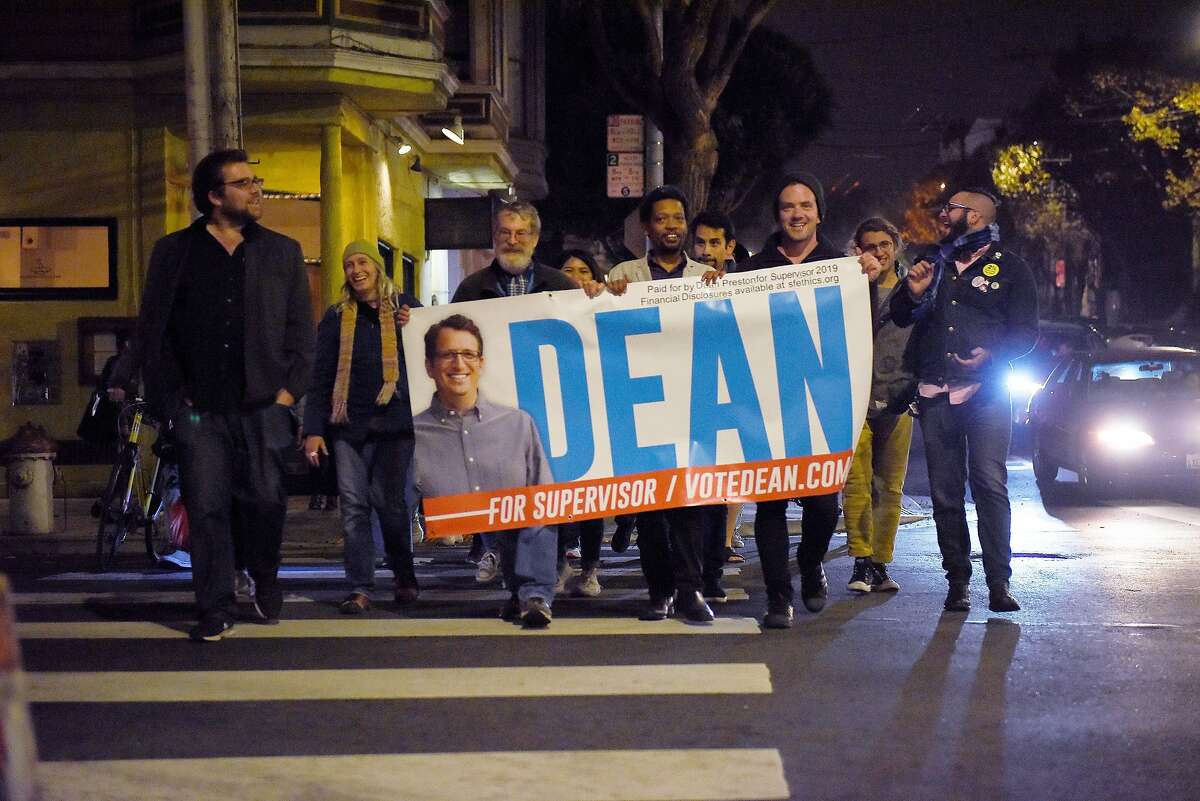 Supporters for District Five Candidate Dean Preston march down Hayes street in Hayes Valley in San Francisco, Calif., on November 5 2019.
