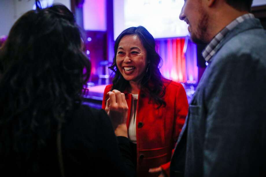 Jenny Lam (center) at Mayor London Breed's election party at the Swedish American Hall in San Francisco, California, on Tuesday, Nov. 5, 2019. Photo: Gabrielle Lurie, The Chronicle