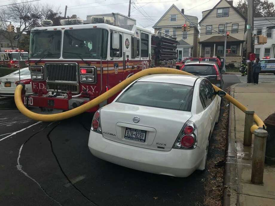 This is what a Staten Island, N.Y. fire company did when a car blocked a fire hydrant on Tuesday, Nov. 5,, 2019. E-160 Photo: E-160 The Hillbillies FDNY Photo