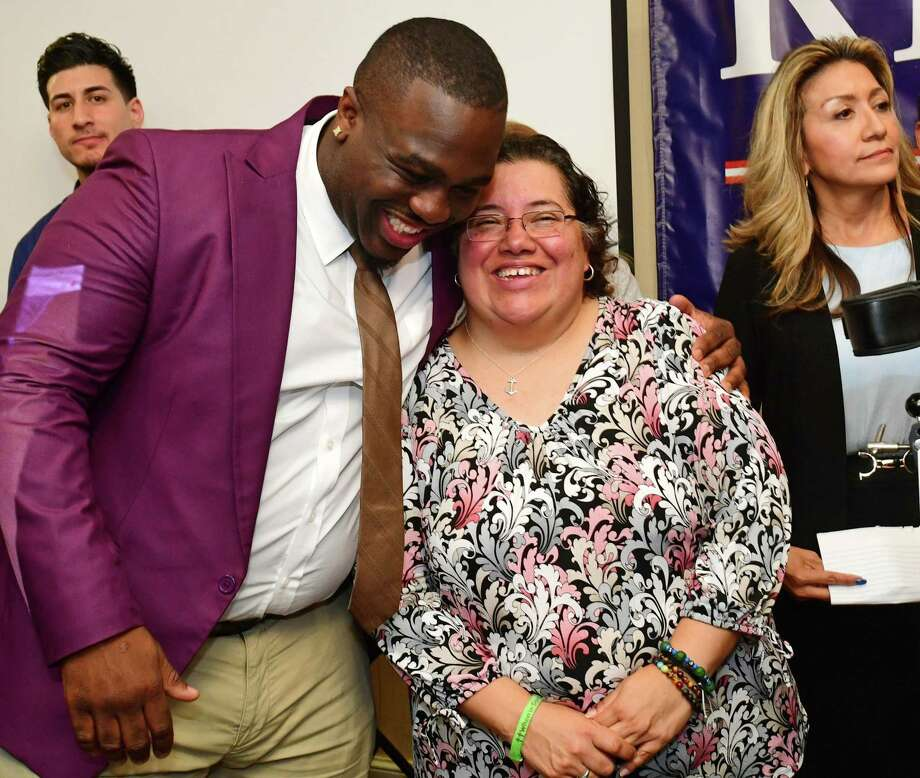 Common Council candidate Kadeem Roberts and Board of Education candidate Diana Carpio celebrate their win on election night Tuesday, November 5, 2019, at the Hilton Inn in Norwalk, Conn. Photo: Erik Trautmann / Hearst Connecticut Media / Norwalk Hour