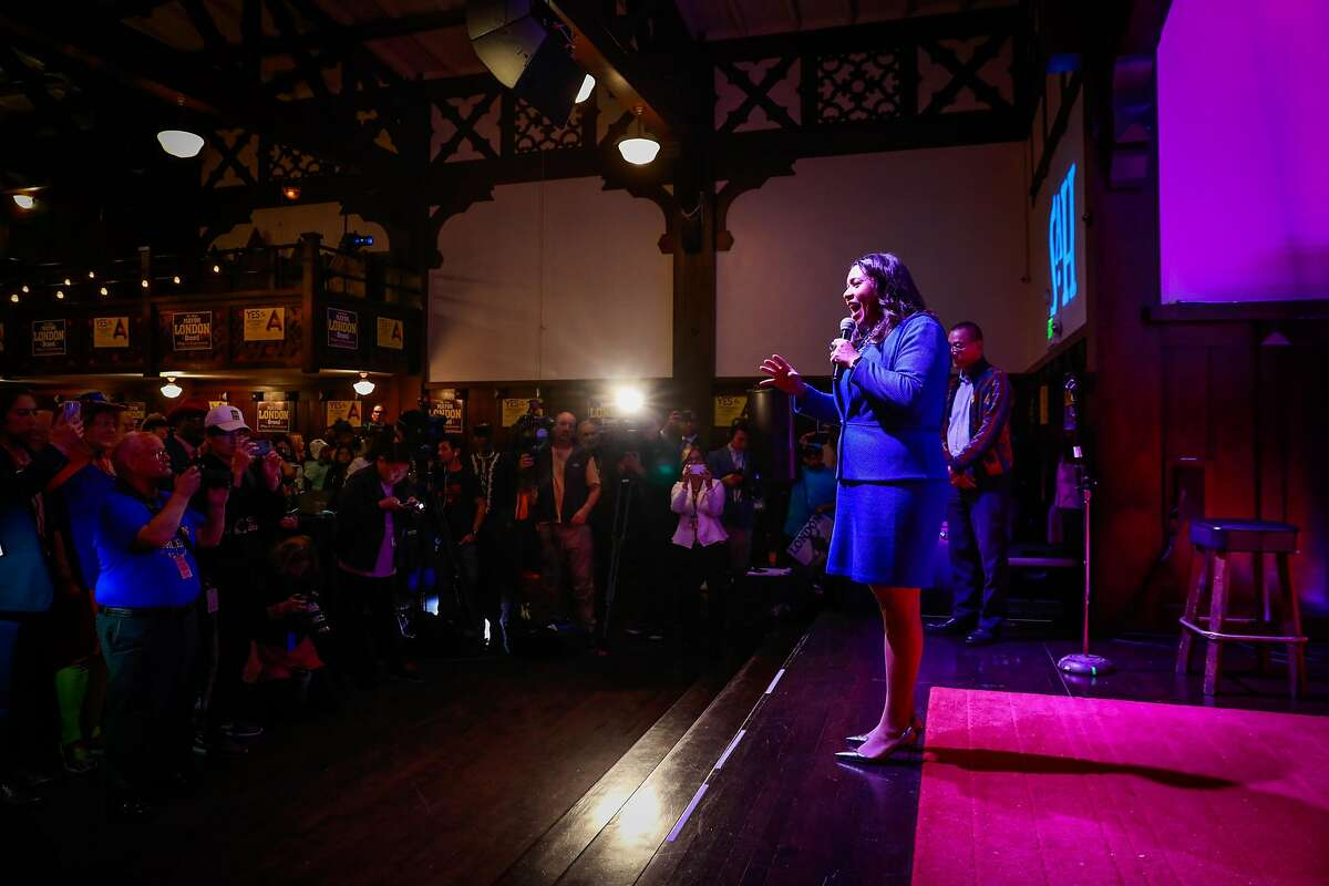 Mayor London Breed speaks at her election party at the Swedish American Hall in San Francisco, California, on Tuesday, Nov. 5, 2019.