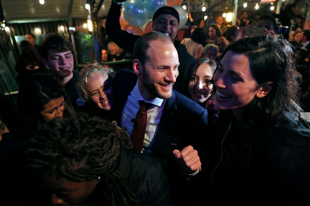 SF District Attorney candidate Chesa Boudin celebrates with his campaign staff during election night party at SOMA StrEat Food Park in San Francisco, Calif., on Tuesday, November 5, 2019.