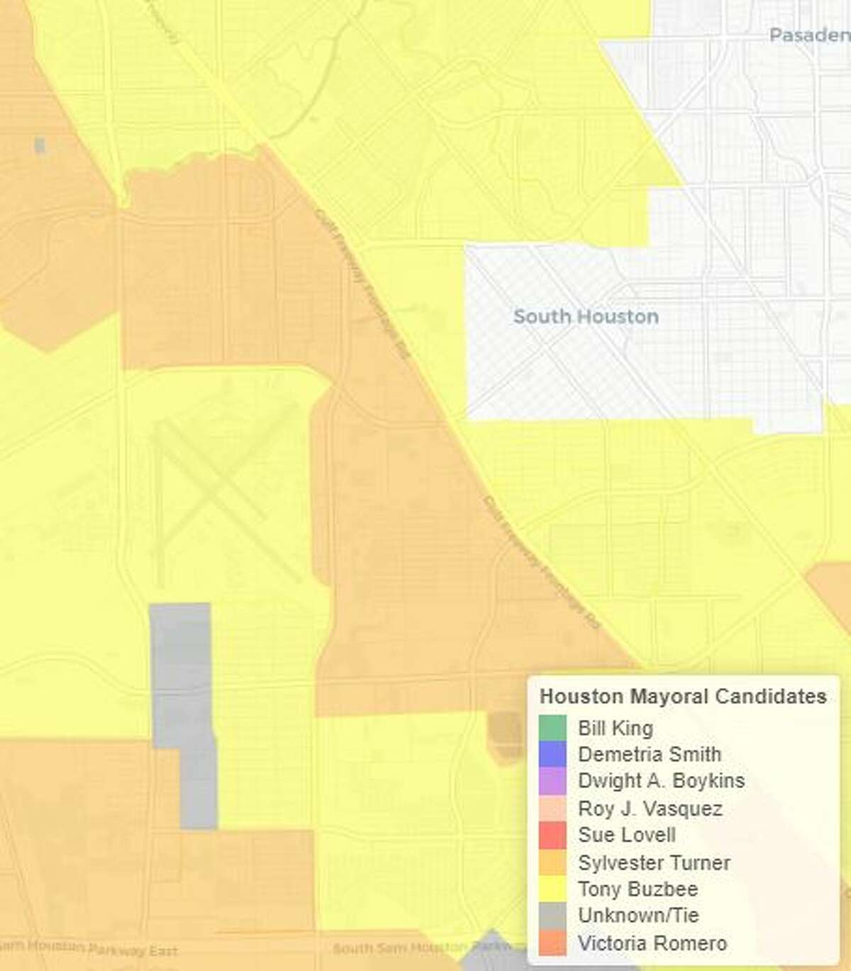 South Houston voters were split between Buzbee and Turner.