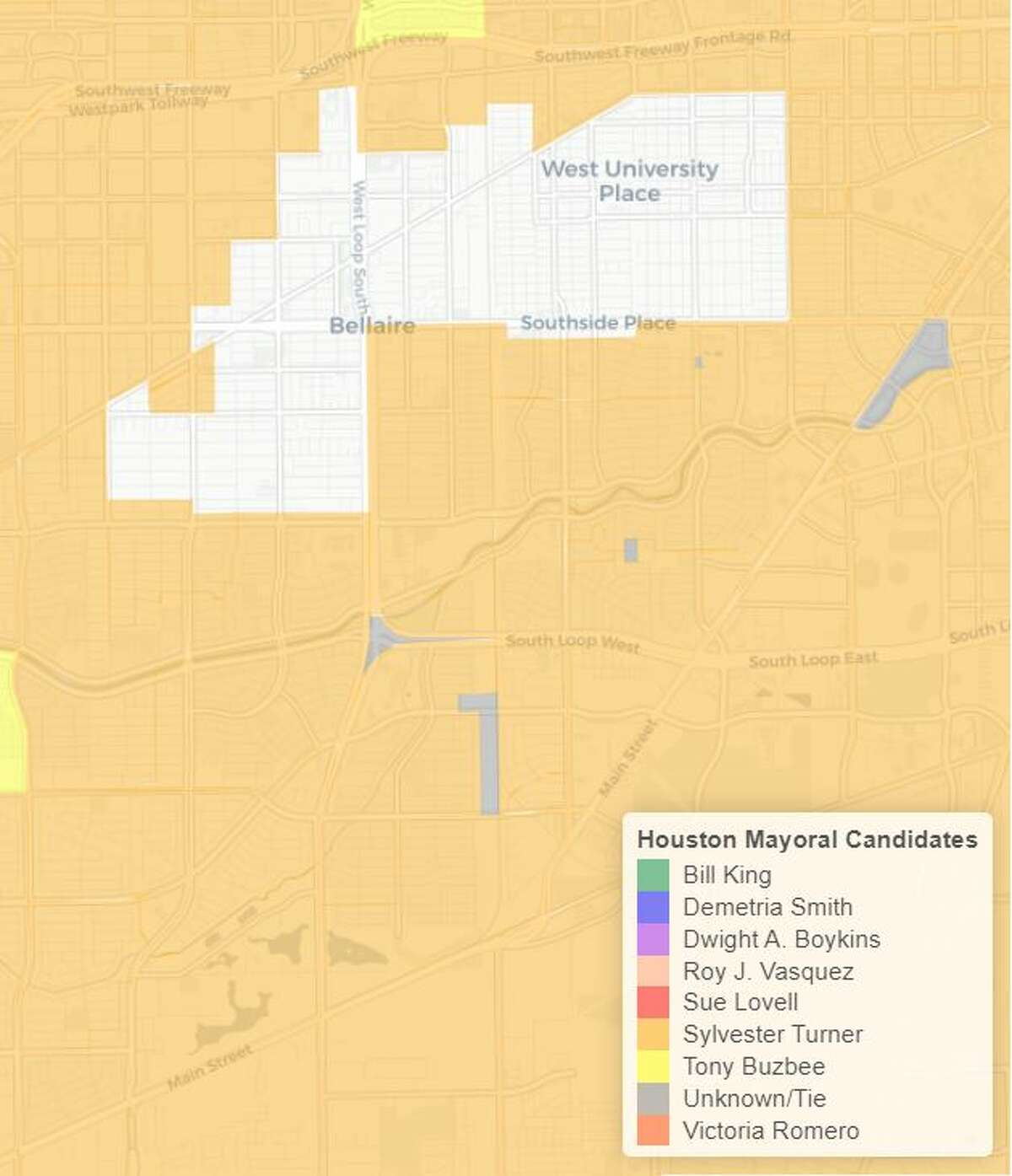In Bellaire, voters chose Turner, which is similar to most inside-the-Loop precincts.