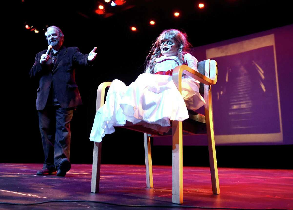 Tony Spera, son-in-law of Ed and Lorraine Warren, unveils the Annabelle doll used in