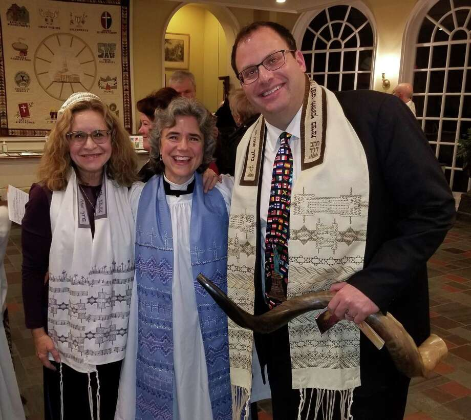 Cantor Deborah Katcho-Gray, the Rev. Whitney Altopp and Rabbi David Reiner, who gathered after last year's Community Thanksgiving Service, will be at this year's service at St. Stephen's. Photo: Contributed Photo.