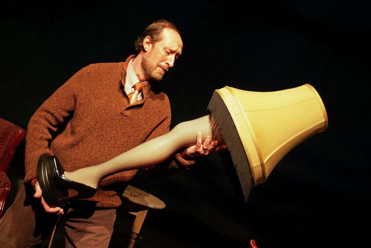 """Seen here in rehearsal for """"A Christmas Story, The Musical"""" at the Kweskin Theatre in Stamford is Brian Bianco as The Old Man."""