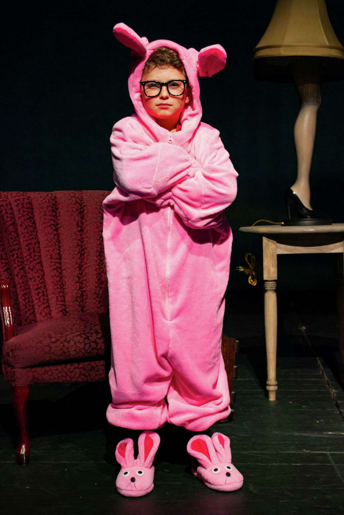 """Seen here in rehearsal for """"A Christmas Story, The Musical"""" at the Kweskin Theatre in Stamford is Ari Frimmer as Ralphie."""