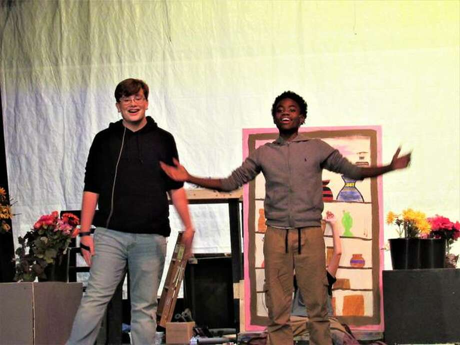 "Cast members rehearse Alton Middle School's musical ""Little Shop of Horrors."" Photo: Dylan Suttles 