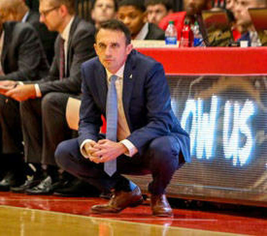 SIUE men's basketball coach Brian Barone watches from the sideline. Photo: SIUE Athletics